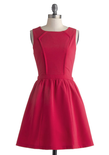 Signature Punch Dress - Short, Pink, Solid, Party, Fit & Flare, Sleeveless, Scoop, Wedding, Cocktail, Bridesmaid, Valentine's
