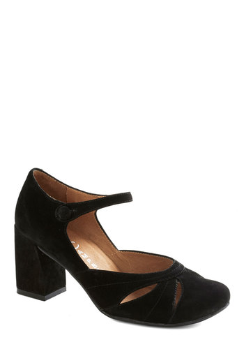 Applause and Effect Heel by Jeffrey Campbell - Black, Solid, Cutout, Chunky heel, Mid, Best, Party, Work, Vintage Inspired, 90s, Leather, Suede
