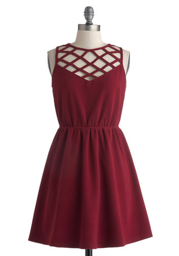 Sipping Sangria Dress - Short, Mini, Red, Solid, Backless, Cutout, Party, Sleeveless, Crew, A-line, Sheer, Valentine's