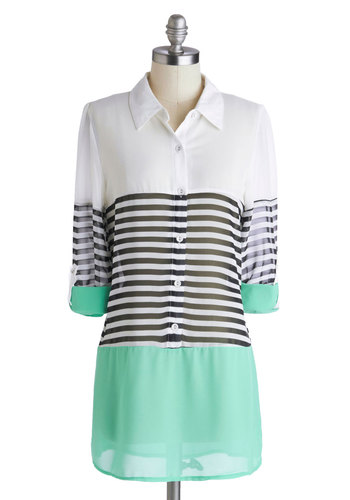 Apartment Tour Top in Mint - Multi, Black, White, Stripes, Buttons, A-line, Collared, Chiffon, Sheer, Mint, Casual, Colorblocking, 3/4 Sleeve, Multi, Tab Sleeve, Long