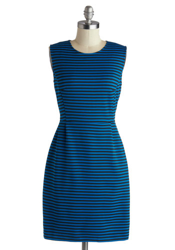 Buenos Aires Arrival Dress - Mid-length, Black, Stripes, Pockets, Party, Sheath / Shift, Sleeveless, Blue, Exposed zipper, Work, Top Rated