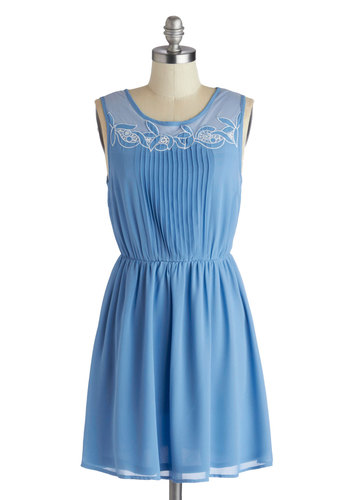 Whimsy What I Mean? Dress - Short, Blue, White, A-line, Sleeveless, Scoop, Solid, Embroidery, Pleats, Daytime Party, Spring, Summer, Pastel