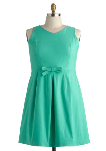Guest of Wind Dress in Plus Size - Green, Solid, Bows, Party, Shift, Sleeveless, Wedding, Daytime Party, Spring, Summer, Exclusives