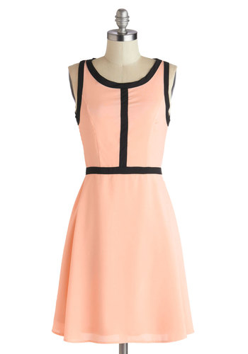 Rue and Me Dress - Mid-length, Pink, Black, Trim, A-line, Tank top (2 thick straps), Scoop, Solid, Party, Daytime Party, Pastel