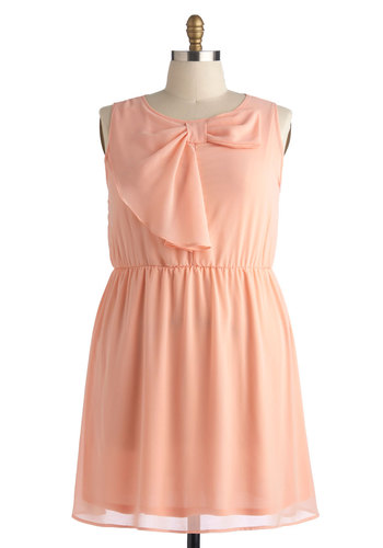 Fancy and Free Dress in Plus Size - Pink, Solid, Bows, Party, A-line, Sleeveless, Scoop, Daytime Party, Pastel, Spring, Summer, Exclusives