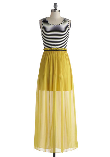 Cantina Head Turner Dress - Long, Yellow, Black, White, Stripes, Casual, Maxi, Tank top (2 thick straps), Scoop, Cutout, Beach/Resort, Twofer, Summer, Sheer, Basic