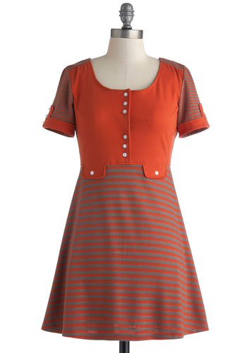 Pastime and Present Dress by Bea & Dot - Orange, Grey, Stripes, Buttons, Casual, A-line, Short Sleeves, Scoop, Exclusives, Fall, Knit, Short, Private Label