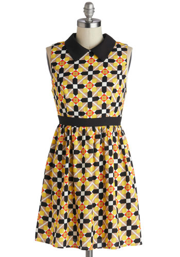 Fun and Game Night Dress - Red, Black, Casual, A-line, Collared, Brown, Multi, Yellow, White, Print, 60s, Sleeveless, Vintage Inspired, Short