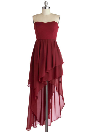 Yes, You Cannes Dress - Red, Solid, Ruffles, Cocktail, High-Low Hem, Strapless, Sweetheart, Mid-length, Chiffon, Knit, Woven, Special Occasion