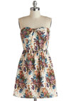 Blossoming Reminiscence Dress - Cream, Multi, Floral, Party, A-line, Strapless, Sweetheart, Bows, Daytime Party, Mid-length, Woven