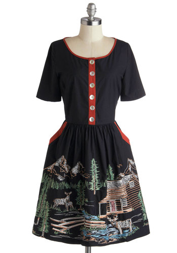 Harbor a Love Dress in Cabin by Knitted Dove - Black, Red, Green, Brown, Print, Buttons, Embroidery, Pockets, Casual, Rustic, A-line, Short Sleeves, Fall, Variation, Scoop, Better, Mid-length, Cotton, Woven, Folk Art