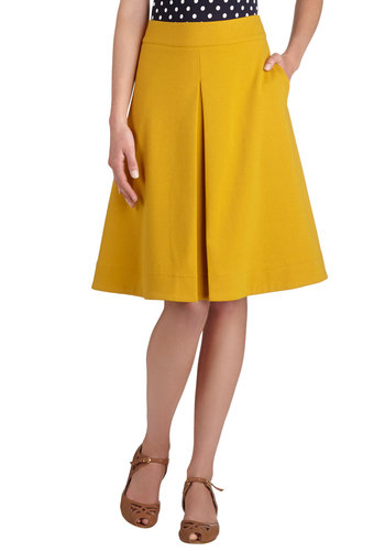 Bliss Is the Life Skirt by Myrtlewood - Yellow, Solid, Work, A-line, Pleats, Exclusives, Knit, Private Label, Mid-length, Pockets, Yellow, Fall, Winter