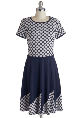 It's A-boat Time Dress by Myrtlewood - Blue, Polka Dots, Casual, A-line, Short Sleeves, Scoop, Grey, Exclusives, Mid-length, Knit, Nautical, Private Label