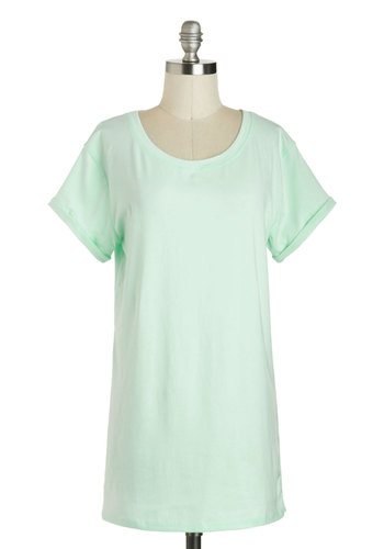 Simplicity on a Saturday Tunic in Mint - Long, Mint, Solid, Casual, Short Sleeves, Pastel, Summer, Variation, Travel, Basic, Minimal, Jersey, Knit, Good, Crew, Green, Short Sleeve, Best Seller, Spring, Maternity, WPI