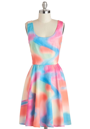 A Good Vibrant Dress - Mid-length, Multi, Print, Casual, A-line, Tank top (2 thick straps), Scoop, Vintage Inspired, 80s, 90s, Exclusives, Summer, Statement