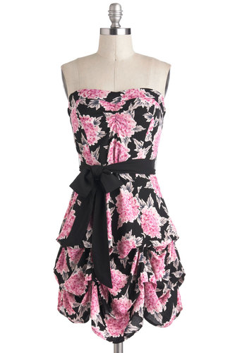 Bundle of Love Dress - Pink, Black, Floral, Belted, Party, A-line, Strapless, Sweetheart, Summer