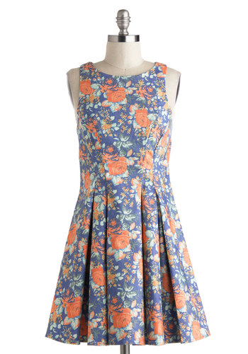 Pedals on Blossoms Dress - Short, Blue, Multi, Floral, Pleats, Casual, A-line, Sleeveless, Boat, Spring, Graduation, Summer