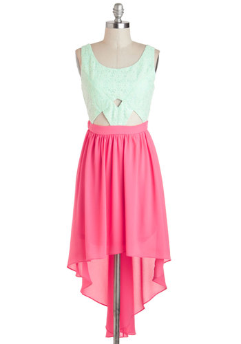 Cutout on the Town Dress - Pink, Cutout, Sleeveless, Spring, High-Low Hem, Colorblocking, Mid-length, Mint, Lace, A-line, Scoop, Party, Girls Night Out, Pink