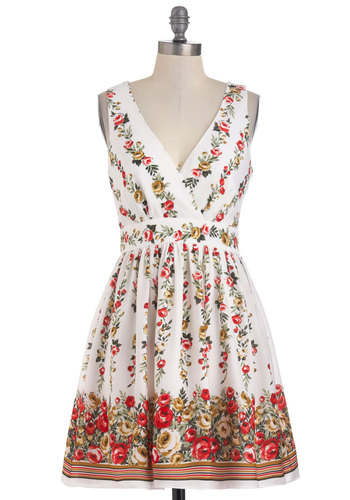 Floor to Ceiling Floral Dress - Mid-length, Floral, Backless, Casual, Vintage Inspired, A-line, Sleeveless, Multi, Red, Yellow, Green, White, Summer, Cocktail, Fit & Flare, V Neck