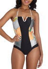 The Art of the Ocean One Piece - Black, Multi, Print, Summer, International Designer, Strapless, Halter