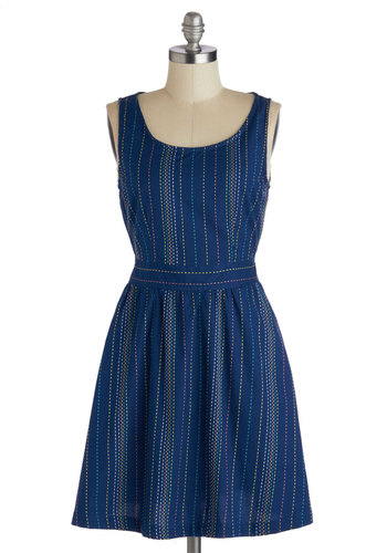 Got You In Stitches Dress by Tulle Clothing - Blue, Multi, Buttons, Cutout, A-line, Sleeveless, Stripes, Pockets, Casual, Scoop, Cotton, Mid-length