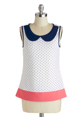 Coaster Through Life Top - Mid-length, White, Blue, Pink, Polka Dots, Peter Pan Collar, Sleeveless, Casual, Summer, Scoop, Good
