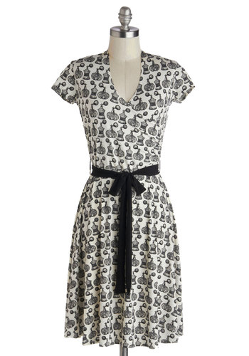Aroma for Improvement Dress - Black, Novelty Print, Belted, Casual, A-line, Cap Sleeves, V Neck, White, Wrap, Knit, Mid-length