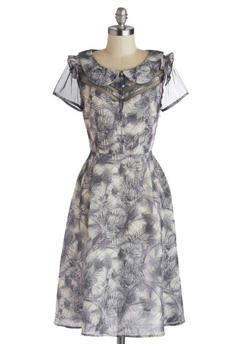 Luck of the Drawing Dress by Myrtlewood - Grey, White, Print, Buttons, Peter Pan Collar, Ruffles, Party, A-line, Short Sleeves, Collared, Exclusives, Private Label, Sheer, Woven, Show On Featured Sale, Long
