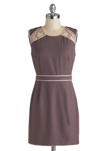 Mocha Mornings Dress - Short, Purple, Pink, Cutout, Party, Sheath / Shift, Sleeveless, Scoop, Solid, Work