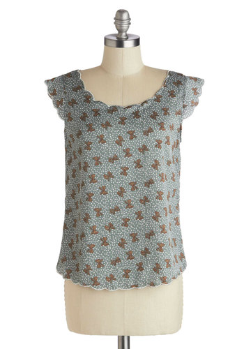 Gift of Grace Top - Novelty Print, Cap Sleeves, Mid-length, Blue, Brown, Buttons, Scallops, Casual, Scoop, Green, Sleeveless