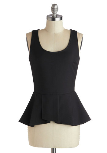 Down to a Refined Art Top in Black - Mid-length, Black, Solid, Work, Peplum, Sleeveless, Exposed zipper, Party, Scoop, Black, Sleeveless
