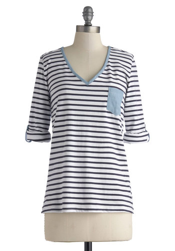 Save the Day Top - White, Stripes, Pockets, Nautical, V Neck, Cotton, Mid-length, Blue, Casual, Long Sleeve, Blue, Tab Sleeve