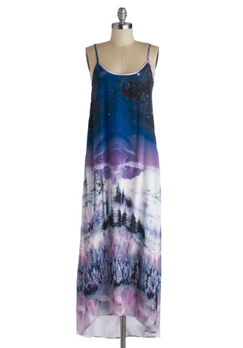 Frosted Haze Dress - Long, Blue, Purple, White, Print, Cutout, Casual, Maxi, Spaghetti Straps, Scoop, Novelty Print, Pockets, Beach/Resort, Summer