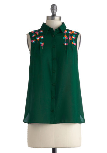 Spunky Spirit Top - Mid-length, Green, Solid, Buttons, Sleeveless, Collared, Multi, Embroidery, Flower, Work, Casual, Button Down, Sheer, Folk Art, Green, Sleeveless