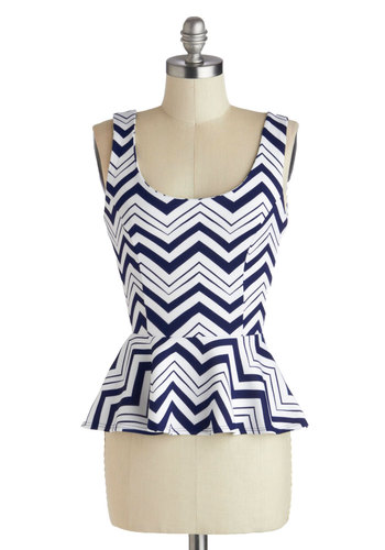 Raft-er Party Top - Blue, Daytime Party, Peplum, Mid-length, White, Chevron, Party, Tank top (2 thick straps), Scoop, Blue, Sleeveless