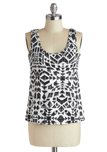 Cityscape Stenciling Top - Black, White, Print, Casual, Tank top (2 thick straps), Summer, Scoop, Mid-length