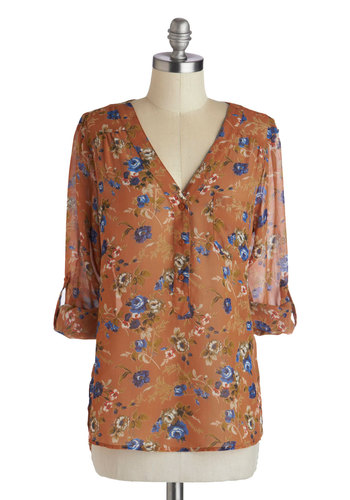 Garden Sheers Top in Sienna - Brown, Green, Blue, Purple, White, Floral, Buttons, Casual, Long Sleeve, Chiffon, Sheer, Mid-length, Pockets, Variation, V Neck, Fall, Spring, Brown, Tab Sleeve