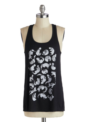Trail as Old as Time Top in Cats - Mid-length, Black, White, Print with Animals, Casual, Cats, Summer, Jersey, Variation, Scoop, Tank top (2 thick straps), Black, Sleeveless