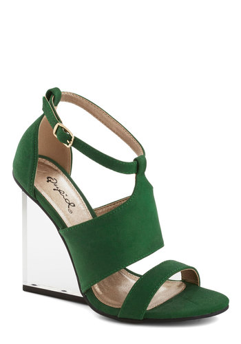 Glassy and Fabulous Wedge - Green, Statement, High, Good, Wedge, Solid, Party, Girls Night Out, Summer, Faux Leather
