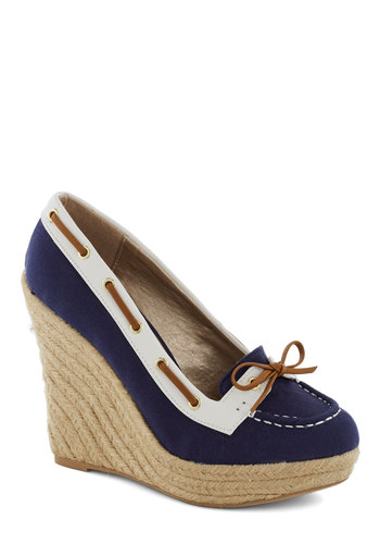 Just What I Yacht Wedge - Blue, Tan / Cream, White, Bows, Nautical, High, Good, Platform, Wedge, Trim, Casual, Beach/Resort, Summer
