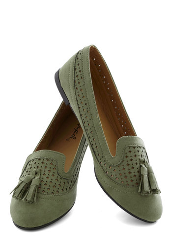 Olive Me Flat - Solid, Cutout, Tassels, Menswear Inspired, Flat, Good, Green, Casual, Fall