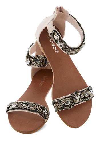 Text Best Thing Sandal - Tan, Beads, Vintage Inspired, 20s, Flat, Summer, Black, Silver, Rhinestones, Party, Daytime Party
