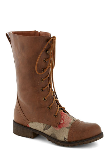 Blooming Saddles Boot in Brown - Tan, Multi, Low, Lace Up, Good, Solid, Floral, Casual, Fall, Faux Leather, Rustic