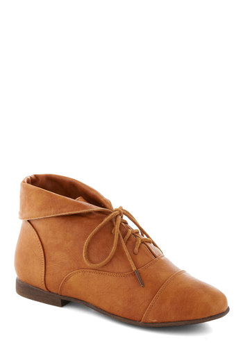 Blaze a Trail Bootie in Tan - Tan, Solid, Steampunk, Flat, Lace Up, Good, Basic, Fall