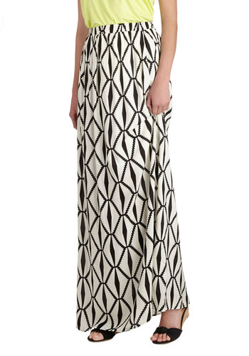 Abstract Your Age Skirt - Long, Print, Maxi, Casual, Daytime Party, Beach/Resort, White, White