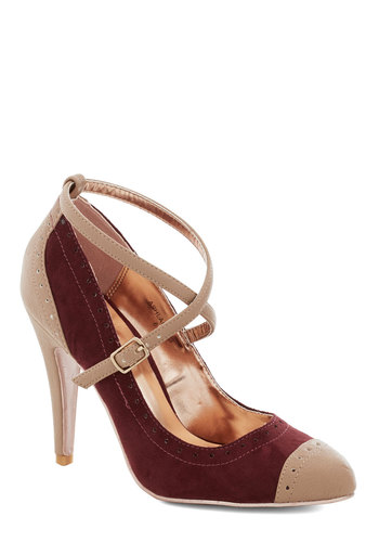 Concert in the Square Heel in Wine - Red, Colorblocking, High, Better, Tan / Cream, Solid, Party, Work, Faux Leather, Variation