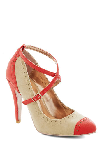 Concert in the Square Heel in Khaki - Tan, Red, Colorblocking, High, Better, Solid, Party, Work, Faux Leather, Variation