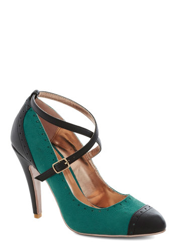 Concert in the Square Heel in Teal - Green, Black, Colorblocking, High, Better, Solid, Party, Work, Faux Leather, Variation