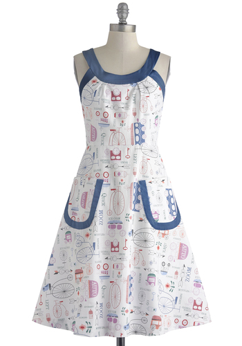 Have Fun, Will Travel Dress by Bea & Dot - Multi, Novelty Print, Pockets, Casual, A-line, Sleeveless, Scoop, Summer, Cotton, Long, Exclusives, White, Private Label, Top Rated