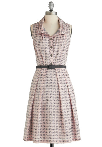 New Hit Single Speed Dress by Eva Franco - Mid-length, Pink, Grey, Novelty Print, Buttons, Pleats, Belted, Casual, Shirt Dress, Sleeveless, Spring, Vintage Inspired, Pastel, Button Down, Collared, Fit & Flare